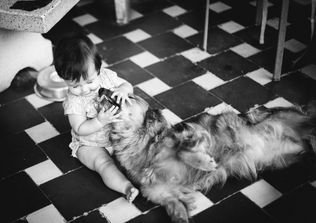 Little girl, less than one year old, playing with her dog. Black and white photography