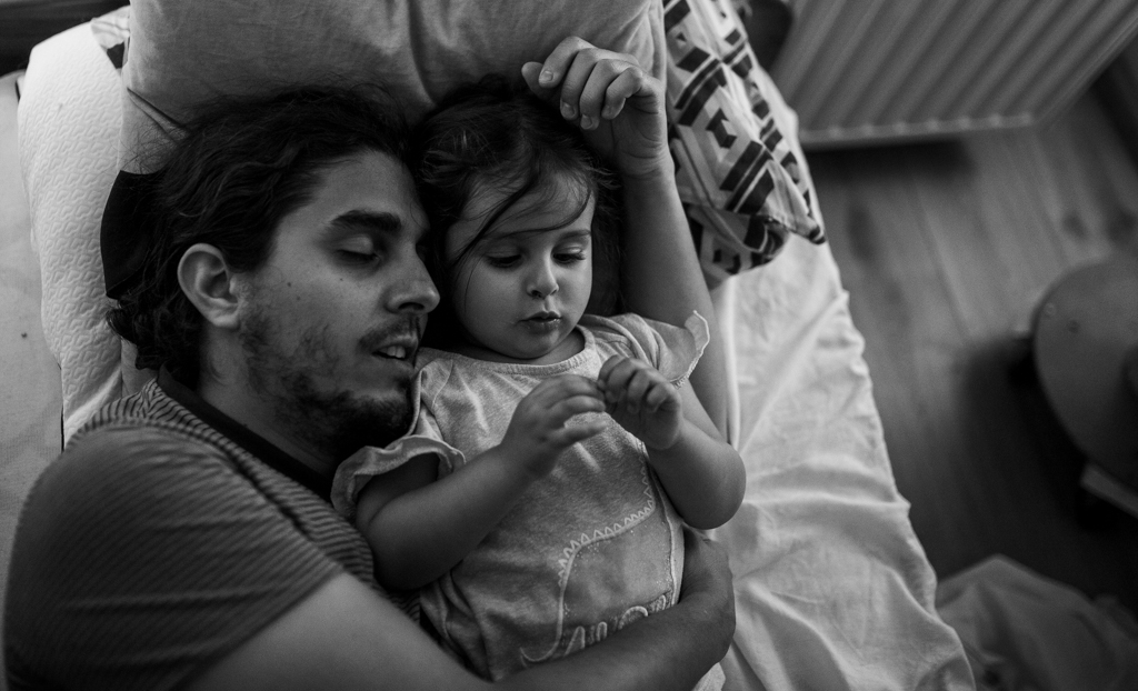 One of my faves of last year: my daughter and his father on the morning of her 3rd birthday